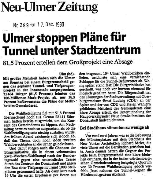 Nein zum Tunnel